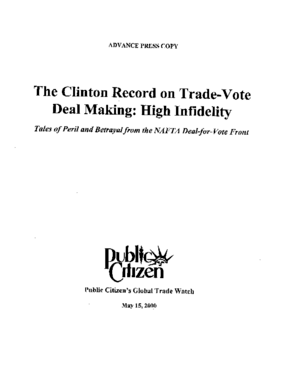 The Clinton Record on Trade Vote Deal Making: High Infidelity