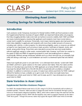 Eliminating Asset Limits: Creating Savings for Families and State Governments