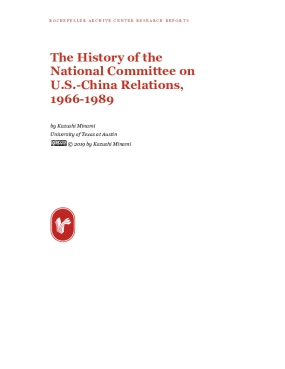 The History of the National Committee on U.S.-China Relations, 1966-1989