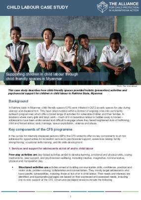 Supporting children in child labour through child-friendly spaces in Myanmar