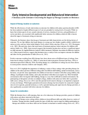 Early Intensive Developmental and Behavioral Intervention: A Summary of the Literature Concerning the Impact of Therapy Location on Outcomes